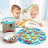 Fun & Educational Game - Children hook a fish or mammal with the magnetic fishing rods and try to name it! Each wooden piece has a letter clue. Great fun for kids whilst learning at the same time. Keeps Children Engaged - Expertly designed in the UK ...