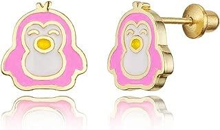14k Gold Plated Enamel Penguin Baby Girls Screwback Earrings with Sterling Silver Post