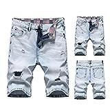 Chejarity Pantalones vaqueros cortos para hombre, pantalones cortos, para verano, tiempo libre, bermudas rectas, sueltos, D - azul, M