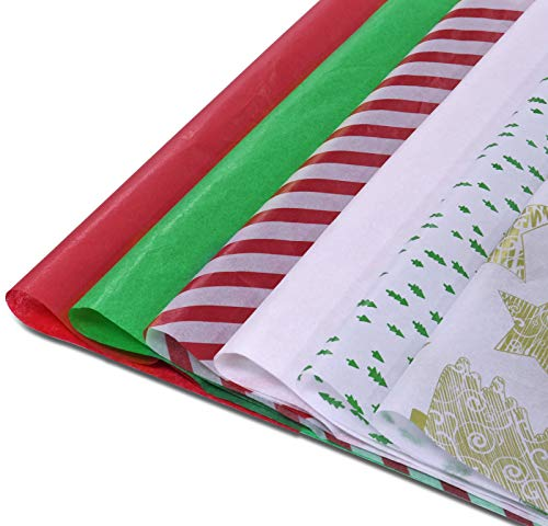 """KLATIE Christmas Tissue Paper, Assorted Design Gift Wrapping Paper 120 Sheets, 20"""" X 14"""", including Red, Green, White, Christmas Trees, Stripe Design, Tissue Paper for Gift Bags, Christmas Wrapping."""
