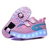 Wasnton Led Luces Zapatos con Ruedas Dobles para Pequeños Niños y Niña Automática Calzado de Skateboarding Deportes de Exterior Patines Zapatos