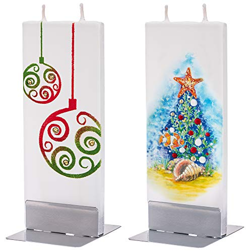 flatyz Flat Special Candles Set of 2 Christmas Tree and Angel on Peach Handmade Odourless Candles Long Burning Time 3-4 Hours 60 x 10 x 150 mm