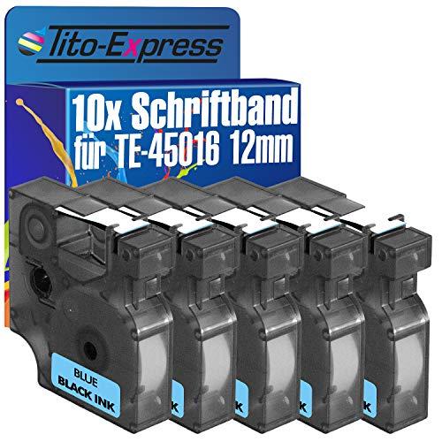 Tito-Express PlatinumSerie 10 Schriftband-Kassetten kompatibel mit Dymo D1 45016 12mm Black/Blue Dymo 1000Plus 2000 3500 5500 Labelmanager PC PC-2 PnP Pocket