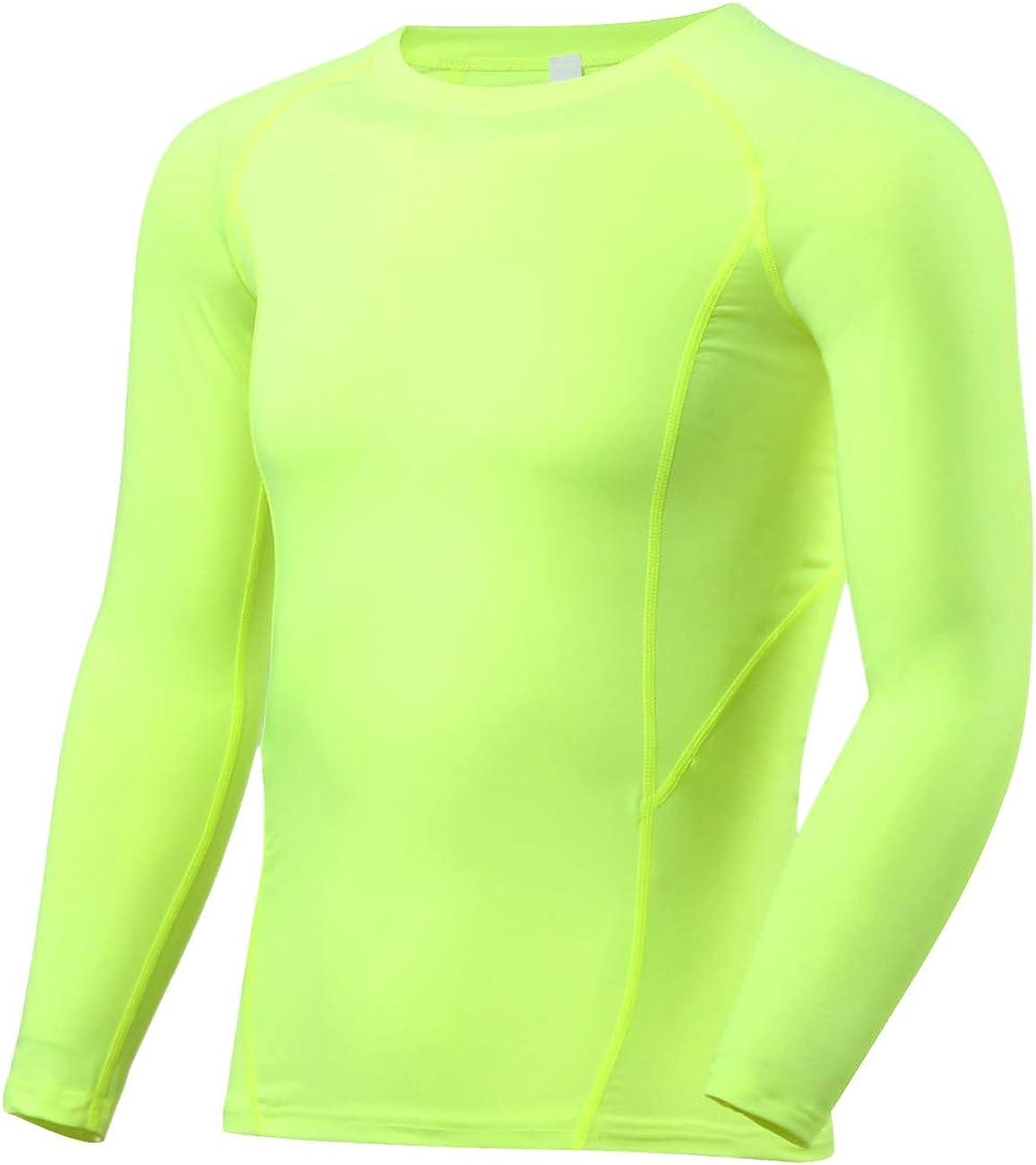 BUYKUD Kids' Boys Long Sleeve Athletic Base Layer Compression Underwear Baseball Soccer Shirt