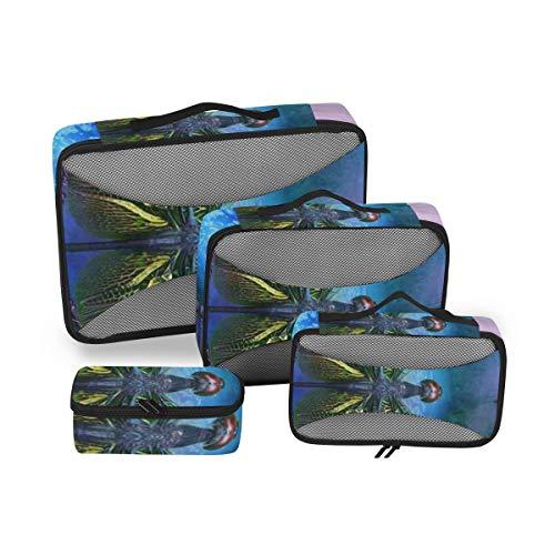 Dragonfly 4pcs Toiletry Bag - Large Cosmetic Makeup Travel Organizer for Men & Women
