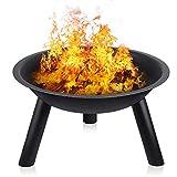 INTEY Feuerstelle aus Eisen,Feuerschale in Garten Feuerkorb, zusammenklappbar, für den Außenbereich und Terrasse, für Camping und Grill, für Holz und Kohle