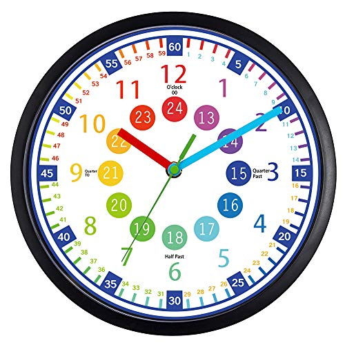 BREIS Telling Time Teaching Clock - 12 Inch Silent Wall Clock,Easy to Read Clock with Non Ticking Movement,Perfect Educational Tool for Kids Room,Homeschool, Classroom, Teachers and Parents (B)