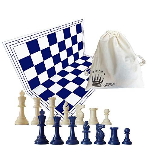 SchachQueen Schachset blau/weiß - komplettes Schachspiel mit Schachbrett und Schachfiguren Plastik...