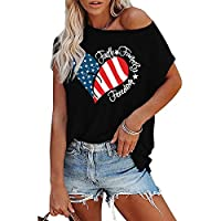 July 4th Womens Patriotic Casual Short Sleeve T Shirt Print Summer American Flag Heart Tops S from