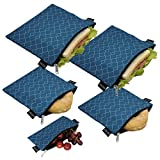 Reusable Sandwich Bags Snack Bags - Set of 5 Pack, Dishwasher Safe Lunch...