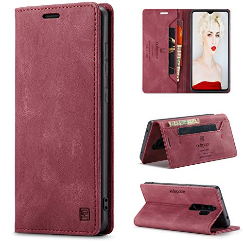 HülleNN Kompatibel mit Xiaomi Redmi Note 8 Pro Hülle Handyhülle Premium Leder Flip Hülle Magnetisch Klapphülle Wallet Lederhülle für Männer Frauen RFID Schutz Silikon Bumper Schutzhülle Dünn - Wein Rot