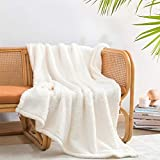 """Ultra Soft Cozy Sherpa Throw Blanket, Solid Antique White Light Weight Warm Decorative Boho Style Plush Throw Blanket Cover for Sofa, Couch, Bedroom,Travel, Pattern Reversible, 50""""x60"""""""
