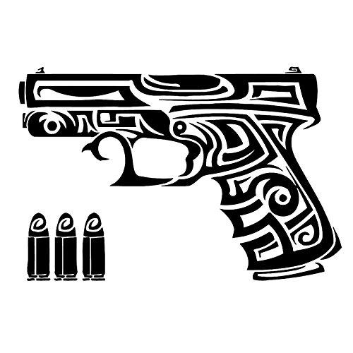 Pegatinas creativas más frescas de moda 15.9cm X 10.6cm Gun Chucks Bullets Fashion Car-Styling Pegatinas Calcomanías Negro/Blanco (Color : Black)