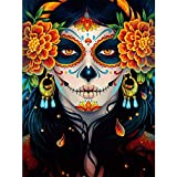 5D Diamond Painting Kits for Adult, Round Full Drill Crystal Rhinestone Embroidery Paint with Diamonds Arts Craft, Gift for Family Friends Home Wall Decor 11.8×15.7 Inches(Colorful Sugar Skull Girl)
