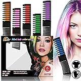 Haarkreide Kamm 6 Farben Haarkreide-Set,Temporär Haarfarbe Kreide Kamm, Hair Chalk Ungiftig...