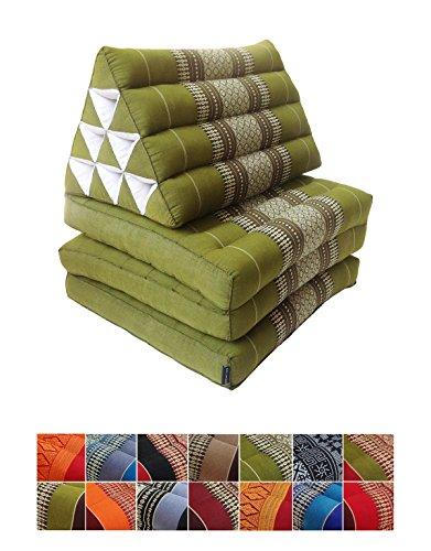 Collumino, materasso da meditazione tradizionale thailandese Kapok a 3 strati, con cuscino reclinabile triangolare in stile orientale, per yoga, massaggi o relax Verde