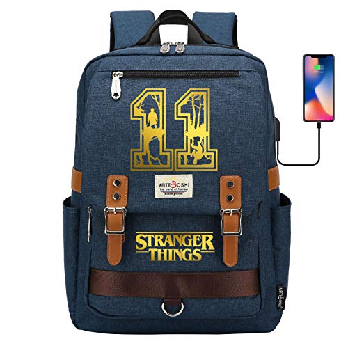 Waterproof Backpack Laptop Schoolbag for Learning/Leisure/Outdoor Activities USB Charging Port Large Darkblue