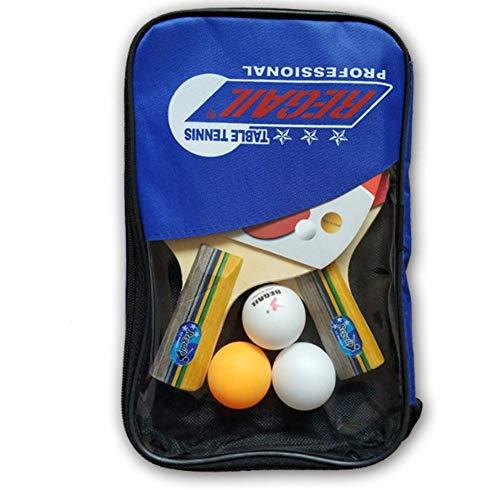 HJX888 Professioneller Tischtennis-schläger,Tischtennis 2 Spieler Set, 2 Tischtennisschläger und 3 Tischtennisbälle mit Schutzhülle Carry Case,Short Handle/Blue