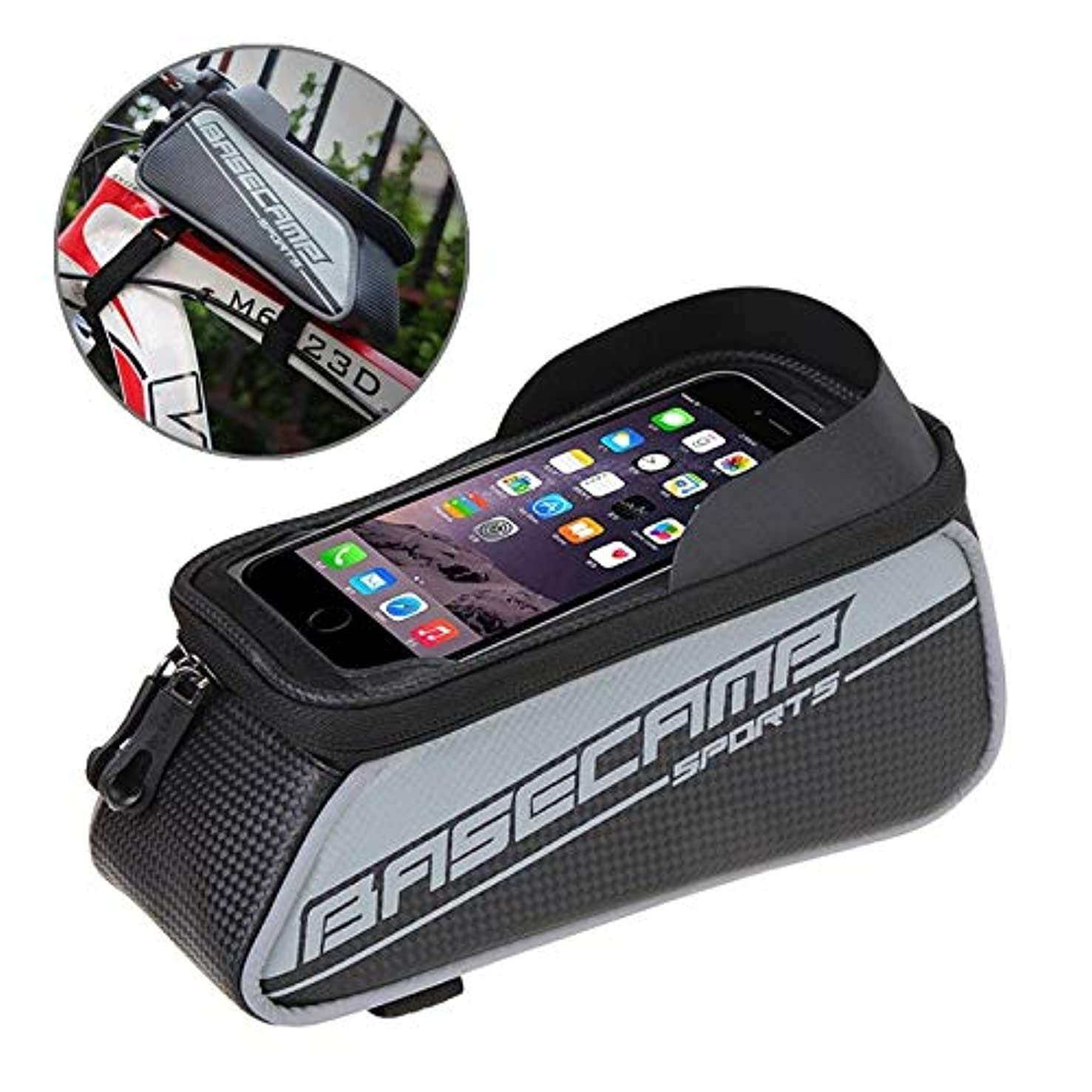 Shengjuanfeng Bicycle Phone Bags Mountain Road Bike Front Head Top Frame Handlebar Bag with Transparent Window & Sun Visor for 158cm and Below Smartphones, Big Size