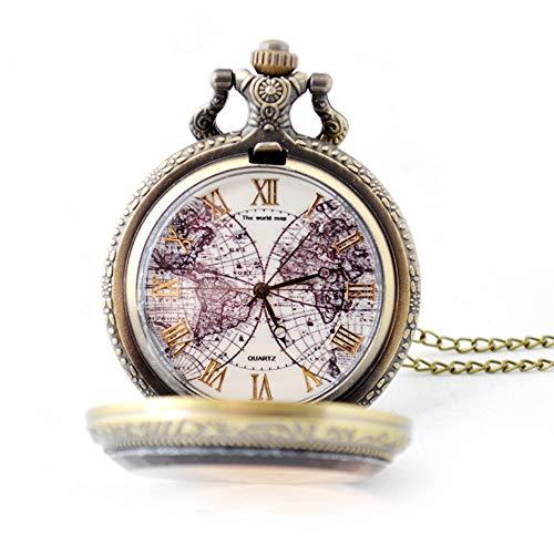 YuYzHanG Taschenuhr Taschenuhr Classic Retro Smooth Und Chain Man Roman Digital Antique Bronze Uhr Mit Weißem Zifferblatt Vatertagsgeschenk (Color : Bronze, Size : Free Size)