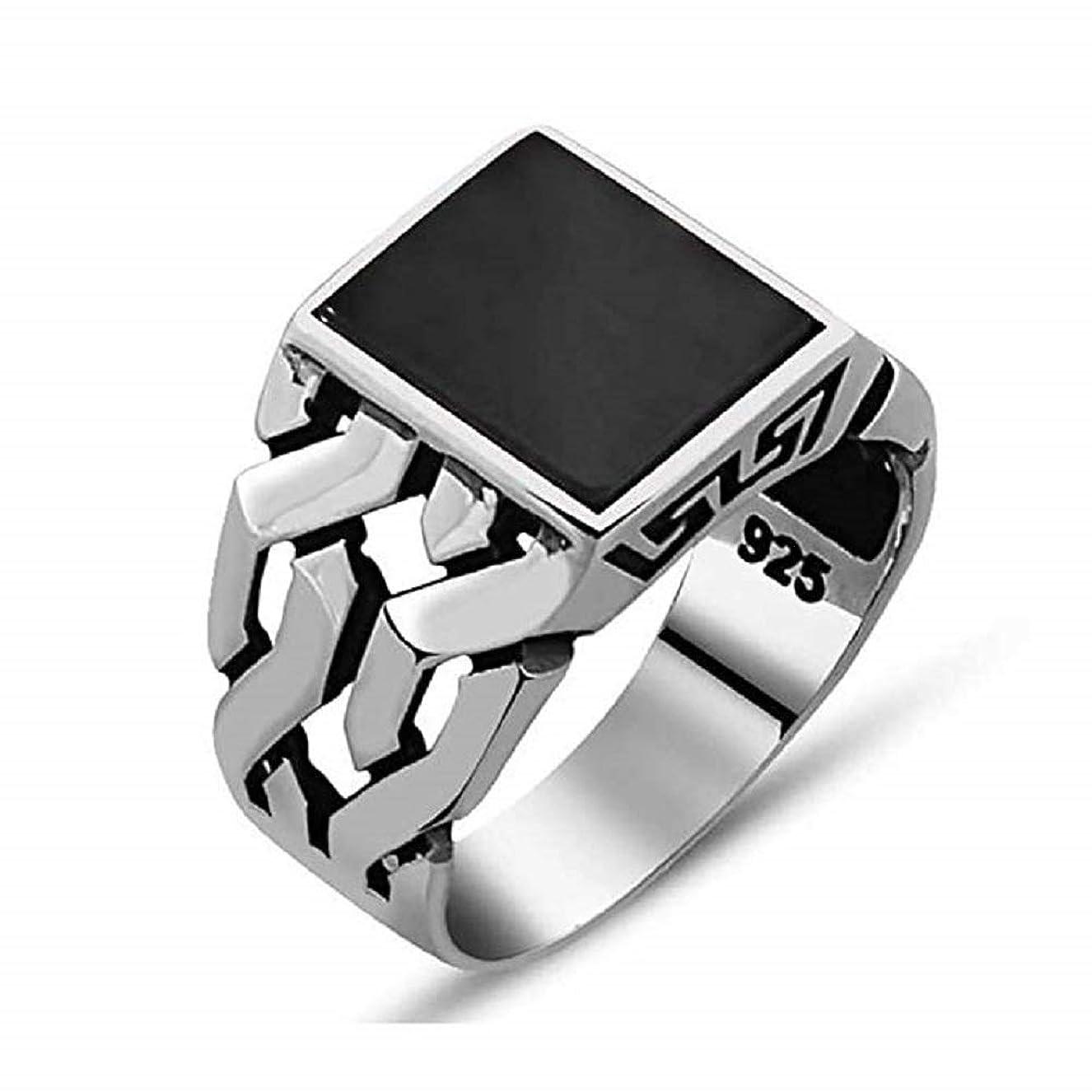 評価可能和らげる衰えるTurkish Ottoman Jewelry Chain Black Onyx Cool 925K Sterling Silver Men's Ring