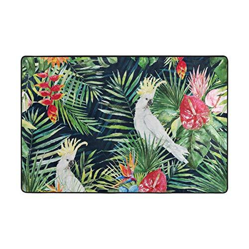 DEZIRO Tapis de Sol en Polyester Motif Feuilles de Palmier et Oiseaux Blanc/Motif Oiseaux Vert, Polyester, 1, 36 x 24 inch
