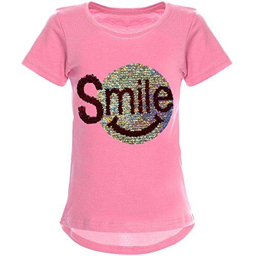 BEZLIT Mädchen Wende-Pailletten T-Shirt Tollem Motiv 22030 Dunkelrosa Größe 164