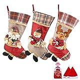 SueH Design Medias de Navidad 3 Pack 48cm   2 Sombreros de Santa y 1 Bolsillo de Caramelo...