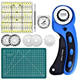 Queta Rotary Cutter 45 mm Fabric Cutter Set with 5 Spare Blades, Cutting