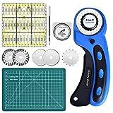 Queta Cúter Giratorio Set, Cortador de tela de 45mm, Cuchillas rotativas Cortador de cuchillas redondas para costura, tela, cuero, costura, papel, etc.