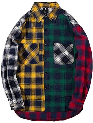 Mens Womens Plaid Shirts Colour Block Patchwork Button Down Jackets Oversized Long Sleeve Flannel Shirt Colourful