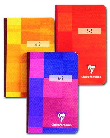 Clairefontaine 9548C Registerbuch A-Z, A5, verstärkte Taben, gebunden liniert, 96 Blatt, farbig sortiert