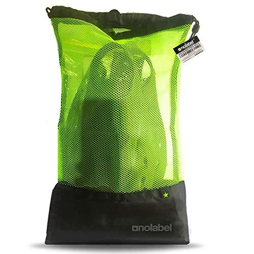 No Label Sporttasche mit Kordelzug - H2O Drawstring SPORTSBAG - Schwimmbeutel – Schwimmtasche mit Netzzug – Rucksack für Schwimm-Training – Tasche für Neoprenanzug - Größe L - Schwarz Neon (Schwarz)