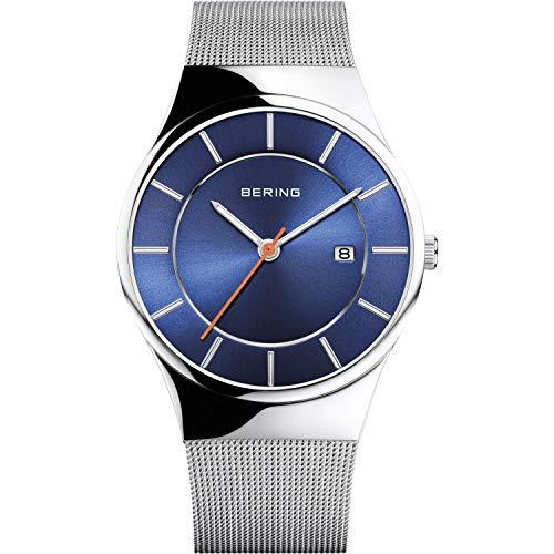 BERING Herren Analog Quarz Classic Collection Armbanduhr mit Edelstahl Armband und Saphirglas 12939-007