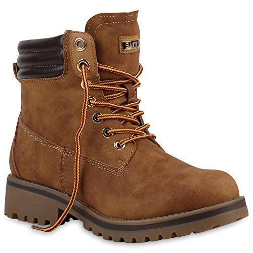 Warm Gefütterte Stiefeletten Damen Worker BootsOutdoor Winterstiefel Schnür Wildleder-Optik Schuhe 125747 Hellbraun 37 Flandell