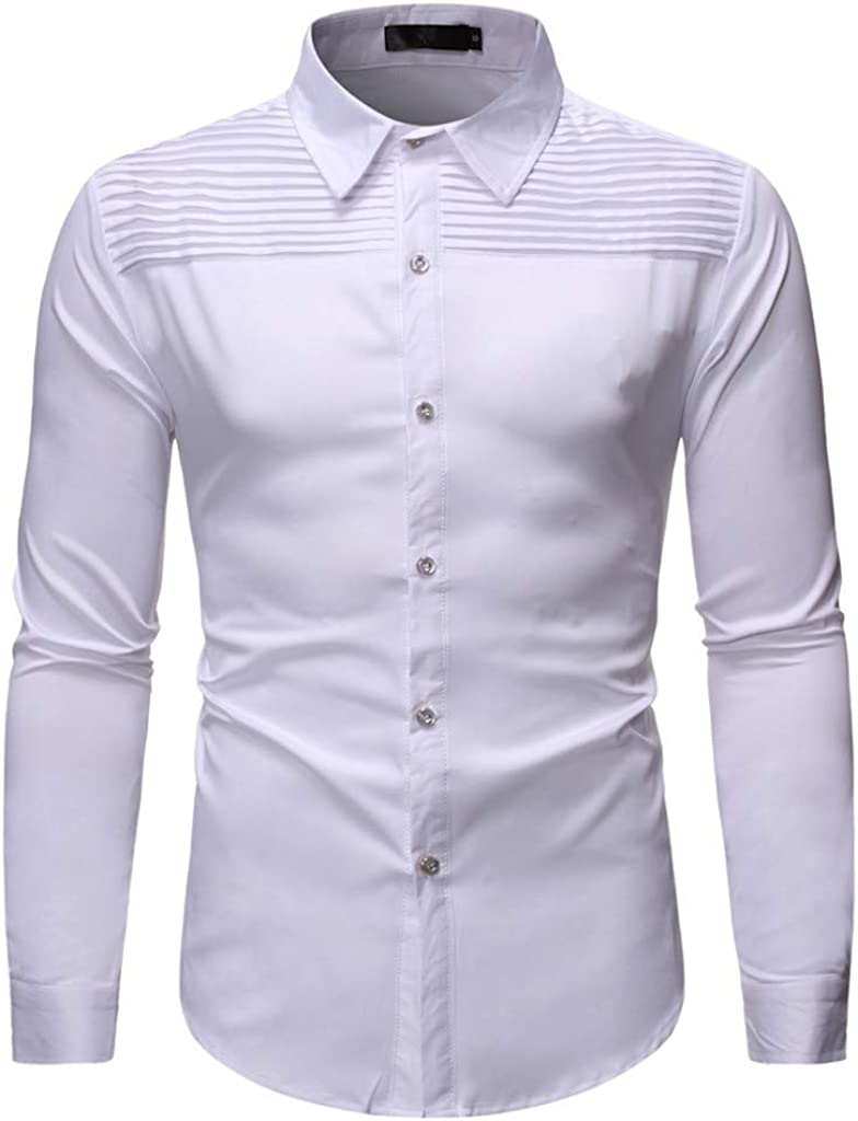 Men's Long Sleeve Slim Fit Big and Tall Casual Button Down Dress Shirt Tops