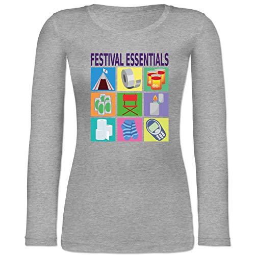 Shirtracer Statement - Festival Essentials Basics - XL - Grau meliert - Festival - BCTW071 - Langarmshirt Damen