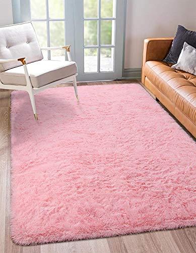 BENRON Soft Fluffy Area Rugs for Bedroom Kids Room Shag Furry Fur Rug for Living Room Boys Girls Modern Plush Nursery Rugs Solid Accent Floor Carpet, 3x5 Feet Pink