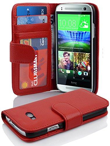 Cadorabo Hülle für HTC ONE M8 Mini (2.Gen.) - Hülle in Inferno ROT – Handyhülle mit 3 Kartenfächern - Case Cover Schutzhülle Etui Tasche Book Klapp Style