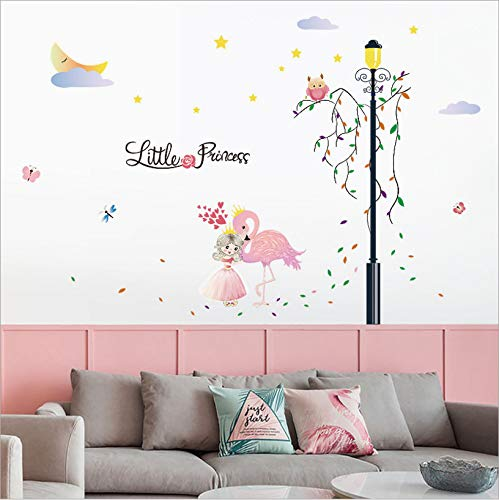 DIY Wall Art Sticker Washing Vinyl Decal,Mural de Arte Artesania bricolaje Removible pegatinas decoracion,Pegatina de pared vinilo adhesivo decorativo para cuartos,Flamenco chica 98 * 115 cm (2PCS)