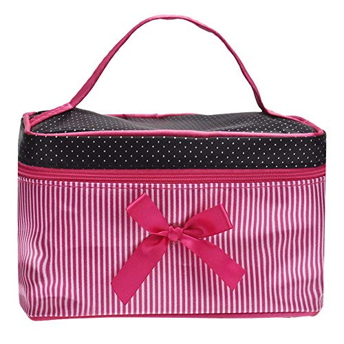 caomeiNew Bow Stripe Makeup Square Storage Box Cosmetic Bag Cosmetic Storage Box 19 * 12 * 11cmSelling