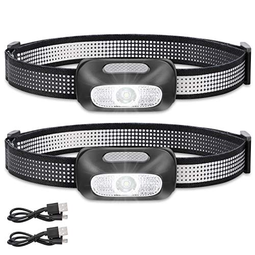 DAINING B2-2 LED Headlamp Flashlight S500 Running, Camping, and Outdoor Headlamps - Best Head Lamp with Red Safety Light for Adults and Kids,Black Pack of 1 (Black(2PCS))