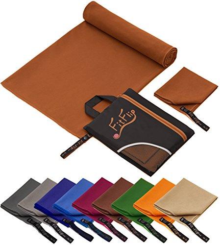 Fit-Flip Reisehandtuch Set – 15 Farben, 6 Größen – Ultra leicht, kompakt, schnelltrocknend – das perfekte Fitness Handtuch, Strandliegenhandtuch und Trekking Handtuch (80x160cm - Braun)
