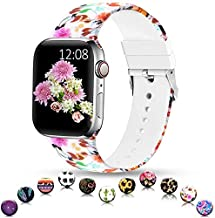 Sunnywoo Sport Band Compatible with Apple Watch 38mm 40mm 42mm 44mm, Soft Silicone Floral Fadeless Strap Replacement Bands for iWatch Series 4, Series 3, Series 2, Series 1, Sport Edition Women Men