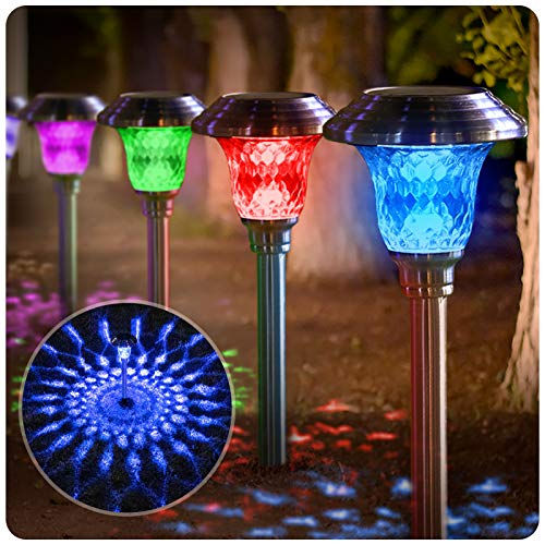 BEAU JARDIN 8 Pack Solar Lights with 7 Color Changing Pathway Outdoor Garden Stake Glass Stainless Steel Waterproof Auto On/Off Sun Powered Landscape Colorful Lighting Effect for Yard Walkway Spike