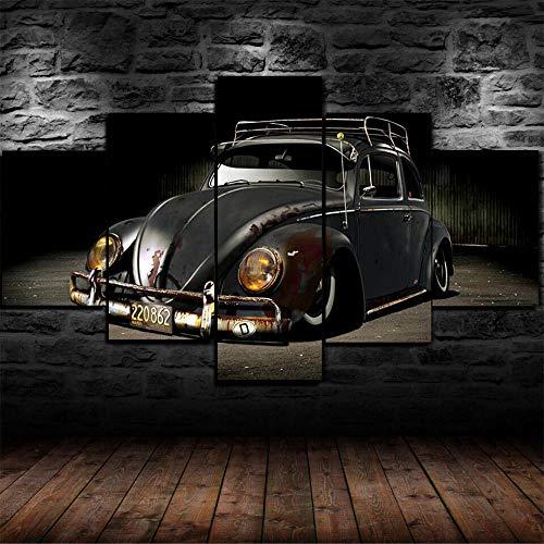 5 Piezas Pintura de lienzo de papel pintadoVolkswagen Beetle Viejo Coche ClásicoImágenes Póster Mural Hd Paisaje Naturaleza lienzo de escena Regalo Naturaleza Abstracto Frames