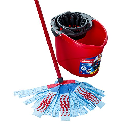 Vileda SuperMocio XL 3 Action Mop und Eimer Set, 6 x 15 x 117 cm, Red/Grey/Blue, XL
