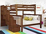 Bedz King Stairway Bunk Beds Twin over Full with 4 Drawers in the Steps, Espresso