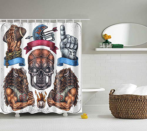 Boyouth Vintage Baseball Sport Muster Digitaldruck Duschvorhänge für Badezimmer Dekor, Polyester wasserdichter Stoff Badvorhang mit 12 Haken, 178 x 178 cm, mehrfarbig