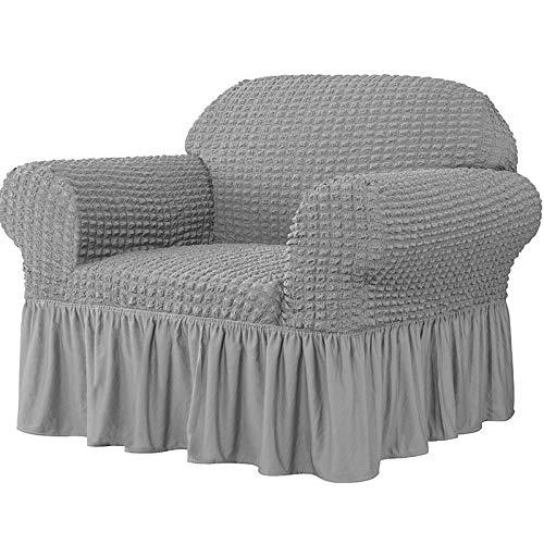 Ronghome Sofabezug Stretch mit Rock, 1 Stück Universal Sofa Überwürfe Jacquard Sofabezug Universal High Stretch Couchbezug Seersucker Armchair Protector mit Rüschenrock 1 2 3 4-Sitzer